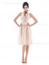 Sleeveless Backless Knee-length Pink Natural Halter Satin A-line Ruffles Bridesmaid Dress