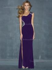 Zipper Side Floor-length Sleeveless Dropped Beading/Split Chiffon Regency A-line One Shoulder Bridesmaid Dress