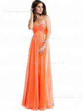 Sweetheart Empire Beading/Applique Zipper Sleeveless Orange Floor-length Chiffon A-line Bridesmaid Dress