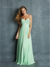 Flowers/Draped Green A-line Backless Sleeveless Chiffon Sweetheart Floor-length Empire Bridesmaid Dress