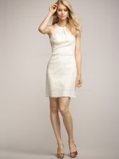 Natural Short-length Sleeveless High Neck Applique Lace Column Sheath Ivory Zipper Bridesmaid Dress