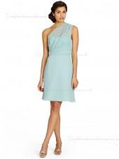 Sleeveless Short-length Chiffon Backless Empire Column Sheath One Shoulder Green Bridesmaid Dress