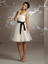 V-neck Sleeveless Chiffon Belt Short-length Natural A-line White Zipper Bridesmaid Dress