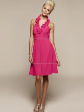 Zipper Halter Sleeveless Ruffles Short-length Fuchsia Empire Chiffon A-line Bridesmaid Dress