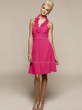 Zipper Halter Sleeveless Ruffles Short-length Fuchsia Empire Chiffon A-line Bridesmaid Dress