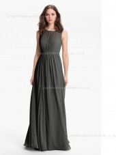 Dropped Gray Floor-length Sleeveless Bateau Zipper A-line Chiffon Draped Bridesmaid Dress