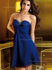 Zipper Mini Beading Chiffon A-line Sleeveless Empire Sweetheart Royal Blue Bridesmaid Dress