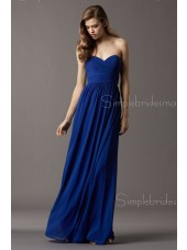 Chiffon Royal Blue Sweetheart Empire Column Sheath Sleeveless Floor-length Ruffles Zipper Bridesmaid Dress