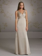 Empire V-neck A-line Zipper Sleeveless Chiffon Floor-length Champagne Ruffles Bridesmaid Dress