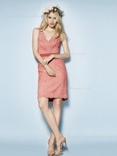 Column Sheath Short-length Sleeveless V-neck Applique/Sash Natural Zipper Watermelon Elastic Satin Bridesmaid Dress