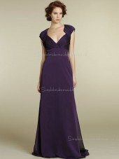 Empire A-line Zipper V-neck Sash Grape Sweep Cap Sleeve Chiffon Bridesmaid Dress