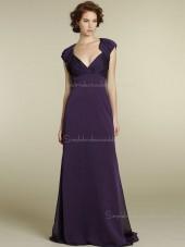 Empire A-line Zipper V-neck Sash Grape Sweep Cap Sleeve Chiffon Bridesmaid Dress