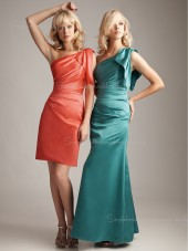 Ruffles Sleeveless Zipper Column Sheath Satin One Shoulder Dropped Bridesmaid Dress