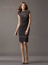 Knee-length Lace Applique/Sash Zipper High Neck Black Cap Sleeve Natural Column Sheath Bridesmaid Dress