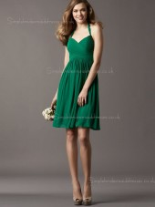 Empire Chiffon Draped Zipper A-line Knee-length Dark Green Halter Sleeveless Bridesmaid Dress