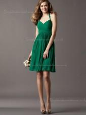 Empire Chiffon Draped Zipper A-line Knee-length Dark Green Halter Sleeveless Bridesmaid Dress