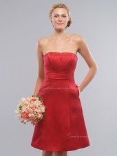 Draped/Sash Red A-line Empire Zipper Satin Knee-length Bateau Sleeveless Bridesmaid Dress