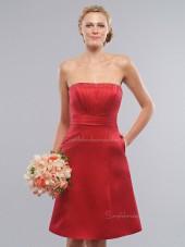 Draped/Sash Red A-line Empire Zipper Satin Knee-length Bateau Sleeveless Bridesmaid Dress