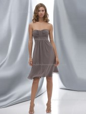 Empire Ruffles Sleeveless Zipper Bateau A-line Chiffon Gray Knee-length Bridesmaid Dress