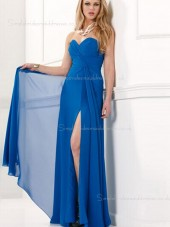 Dropped Split/Ruffles Chiffon Column Sheath Royal Blue Floor-length Sweetheart Sleeveless Zipper Bridesmaid Dress