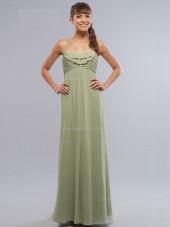 Zipper Sage Sleeveless Bateau Column Sheath Chiffon Floor-length Empire Ruffles/Tiered Bridesmaid Dress