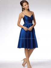 Satin Zipper Knee-length Royal Blue Empire Sleeveless A-line V-neck Draped Bridesmaid Dress