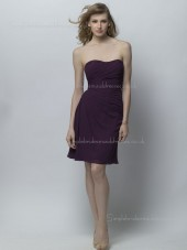 Column Sheath Chiffon Draped Bateau Grape Knee-length Sleeveless Dropped Zipper Bridesmaid Dress