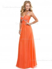 Zipper Sleeveless Column Sheath Chiffon Sweetheart Floor-length Empire Orange Beading Bridesmaid Dress