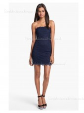 Sleeveless Zipper Lace Applique Natural Bateau Mini Column Sheath Dark Navy Bridesmaid Dress