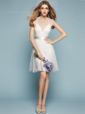 V-neck Zipper Cap Sleeve White Organza Tiered A-line Knee-length Empire Bridesmaid Dress