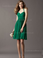 Knee-length Ruffles Dark Green Empire Zipper Halter Chiffon A-line Sleeveless Bridesmaid Dress