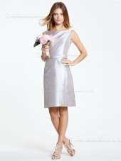 Satin Silver Knee-length Sash/Bow Column Sheath Zipper Bateau Natural Sleeveless Bridesmaid Dress