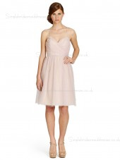 Sweetheart Natural A-line Knee-length Ruffles Zipper Organza Indy Pink Sleeveless Bridesmaid Dress