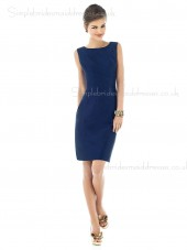 Natural Satin Dark Navy Column Sheath Zipper Sleeveless Knee-length Bateau Bridesmaid Dress