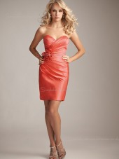 Sweetheart Watermelon Zipper Satin Flowers/Ruffles Column Sheath Dropped Sleeveless Short-length Bridesmaid Dress