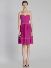 Zipper Dropped Knee-length A-line Fuchsia Sleeveless Ruffles Chiffon Sweetheart Bridesmaid Dress