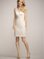Applique/Sash Short-length Column Sheath Empire Lace Sleeveless Champagne Zipper V-neck Bridesmaid Dress