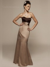 Column Sheath Sleeveless Bateau Empire Chocolate Satin Floor-length Ruffles Zipper Bridesmaid Dress
