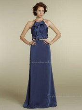 Backless Column Sheath Sleeveless Chiffon Floor-length Natural Tiered/Sash High Neck Blue Bridesmaid Dress
