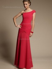 Sleeveless Zipper One Shoulder Dropped Red Draped Column Sheath Chiffon Floor-length Bridesmaid Dress