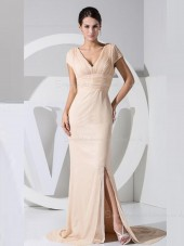 Split/Ruffles Empire Indy Pink Sweep Cap Sleeve V-neck Column Sheath Zipper Chiffon Bridesmaid Dress