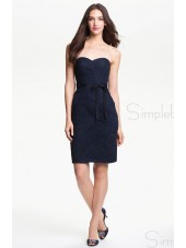 Zipper Ruched/Bow Knee-length A-line Sweetheart Dark Navy Sleeveless Natural Bridesmaid Dress