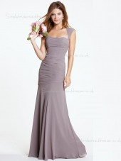 Ruched Sleeveless Floor-length Chiffon A-line Light Slate Gray Dropped Bateau Backless Bridesmaid Dress
