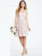 Natural A-line Lace Zipper Sweetheart Applique Short-length Indy Pink Sleeveless Bridesmaid Dress