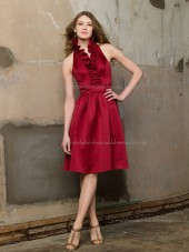 A-line Satin Burgundy Halter Natural Sleeveless Backless Knee-length Ruffles Bridesmaid Dress