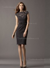 Zipper Cap Sleeve Bateau Black Natural Column Sheath Applique/Sash Lace Short-length Bridesmaid Dress