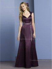 Zipper Floor-length A-line Natural Satin Grape V-neck Sleeveless Belt/Beading Bridesmaid Dress