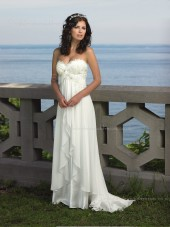 Made Ivory Sweep A-line Chiffon Sleeveless Flower Hand Sweetheart Wedding Dress