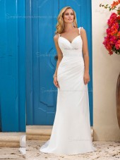 Sweep Column / Sheath Sweetheart Beading / Ruffles Chiffon Sleeveless Ivory Wedding Dress