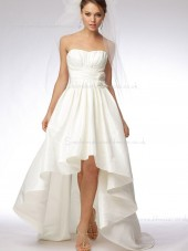 Sleeveless Sweep Hand Ivory Flower Bateau A-line Made Taffeta Wedding Dress